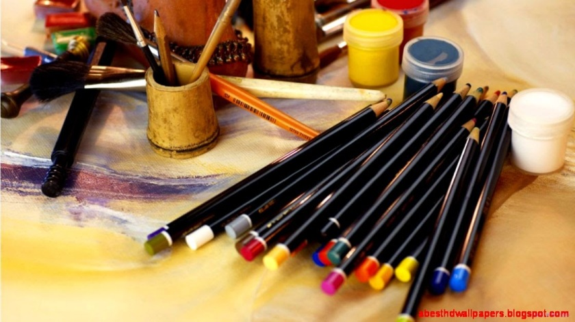 artist-color-pencils-and-brush-wallpaper-hd-1366x768-free